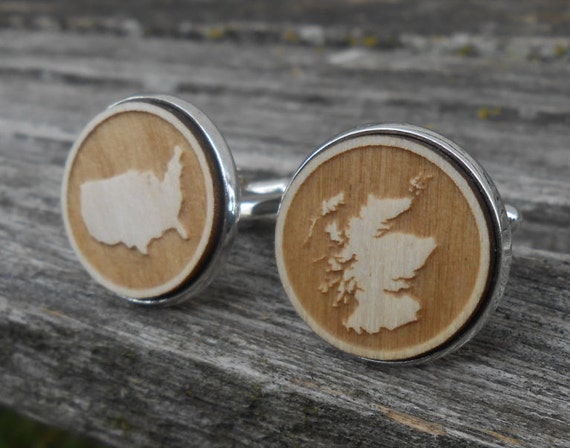 YOUR COUNTRY Wood Cufflinks. Laser Engraved. Wedding, Men's, Groomsmen Gift, Dad. Custom Orders Welcome. Map, Scotland, Italy, U.S.A., AU