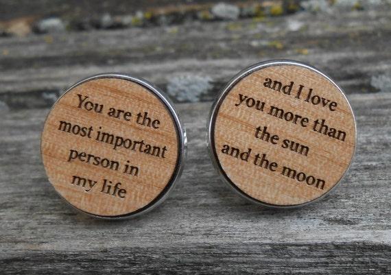YOUR WEDDING VOW Cufflinks. Personlized. Wedding, Men's, Groom Gift, Fifth Anniversary Gift, Valentine's Day. Custom, Wood.