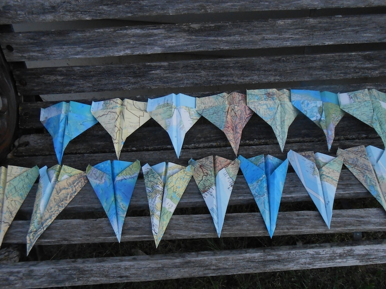 Wedding Decoration Birthday Escort Cards Travel Wedding Party Vintage MAP Paper Airplanes CUSTOM ORDERS Welcome.