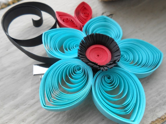Red & Turquoise Flower Hair Piece, Quilled Paper. Wedding , Bridal Hair Piece. Paper Flowers. Bride, Bridesmaid, Flower Girl.