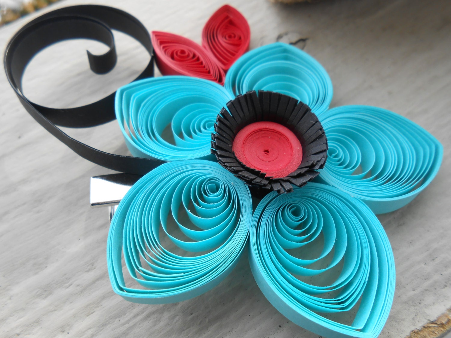 Red Turquoise Flower Hair Piece Quilled Paper Wedding Bridal