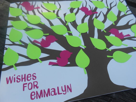 Custom Wishing Tree With Leaves and/or Birds. YOUR CHOICE of Colors.  Wedding, Showers, Guestbook, Etc.