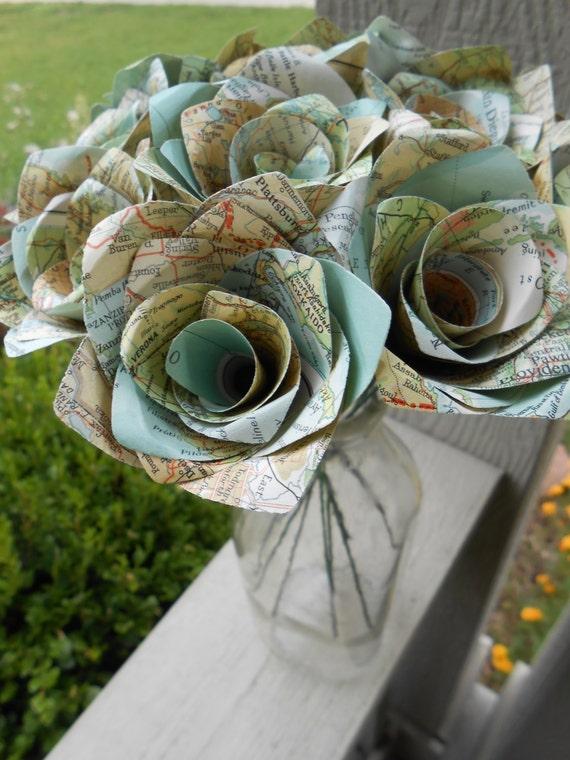 One Dozen Vintage MAP Paper Roses. Gift, Wedding, Anniversary, Birthday, Travel Wedding. CUSTOM ORDERS Welcome.