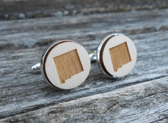 Wood STATE Cufflinks. NEW MEXICO. Laser Engraved. Wedding, Groom, Groomsmen Gift, Dad. Albuquerque