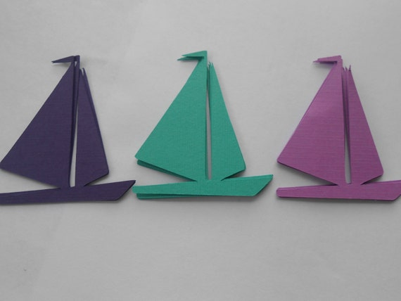 50 Sailboats. 3.5 inch. CHOOSE YOUR COLORS.  Shower, Birthday, Weddings, Escort, Table Cards.