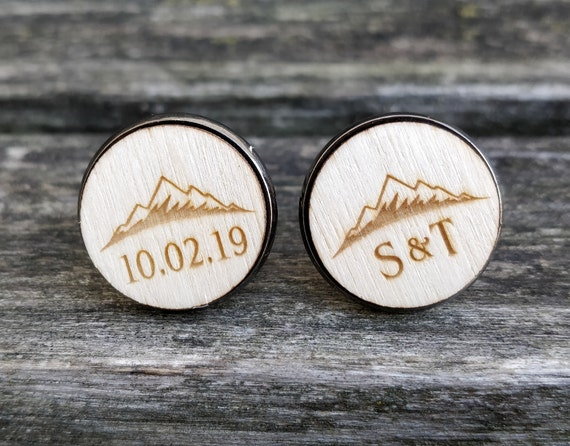 Custom Mountain Cufflinks. Personalized. Monogram, Date. Wedding, Groom Gift, Fifth Anniversary Gift. Groomsmen. Wood.
