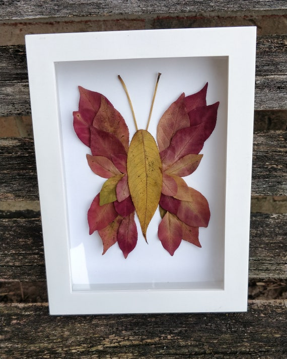 Leaf Butterfly Picture. Real Leaf Art. Baby Room Decoration, Kids Decor, Birthday Gift, Birds, Animal Art.