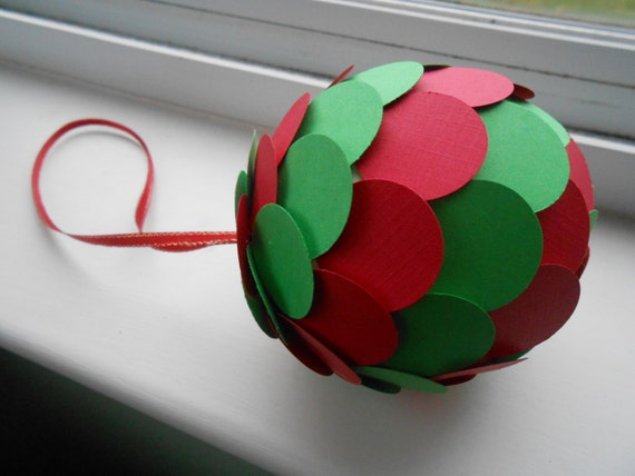 Red & Green Paper Ball Ornament. Decoration, Christmas, Gift, Birthday, Anniversary, Wedding. Mom, Dad.