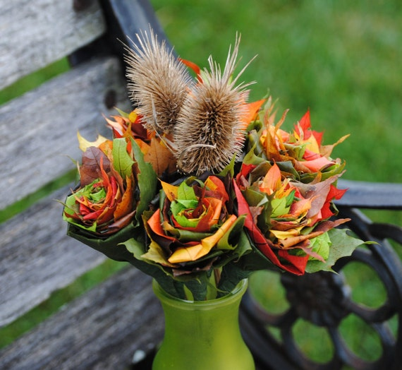6 FALL Maple Leaf Roses, With Teasel. REAL LEAVES! Fall Home Decor, Thanksgiving, Halloween
