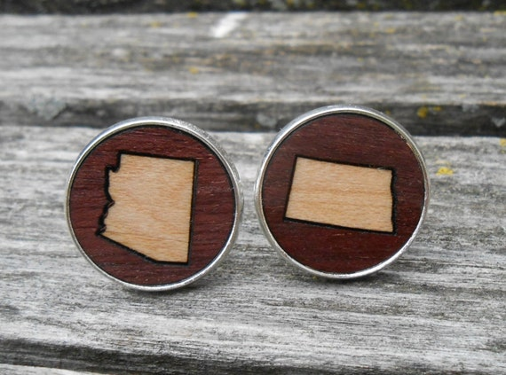 HIS & HERS State Cufflinks. Wood Inlay. Wedding, Men's, Groomsmen Gift, Dad, Father of the Bride. Custom Orders Welcome.