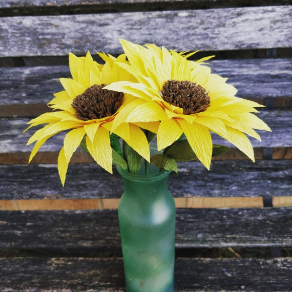 Crepe Paper Sunflowers. Set of 3. Perfect for First Anniversary, Weddings, Birthdays. Unique Gift. CUSTOM Orders Welcome