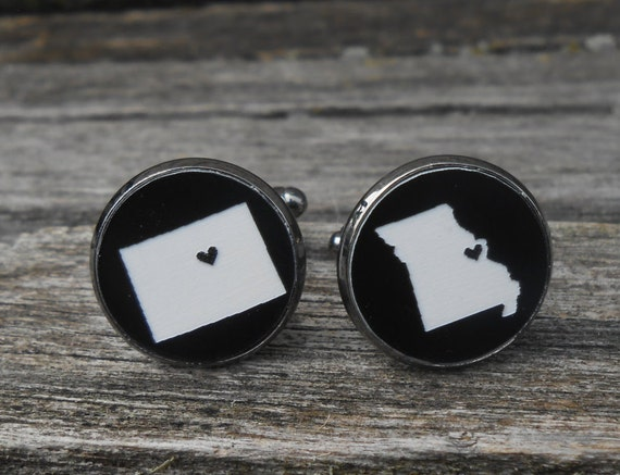 His & Hers State Cufflinks. Black, White Acrylic. Wedding, Men's, Groomsmen Gift, Anniversary, Groom
