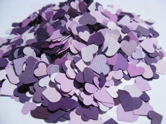 5,000 Mini Confetti Hearts. Purple Mix. Or Choose Your Colors. Weddings, Showers, Decorations. ANY COLOR Available.