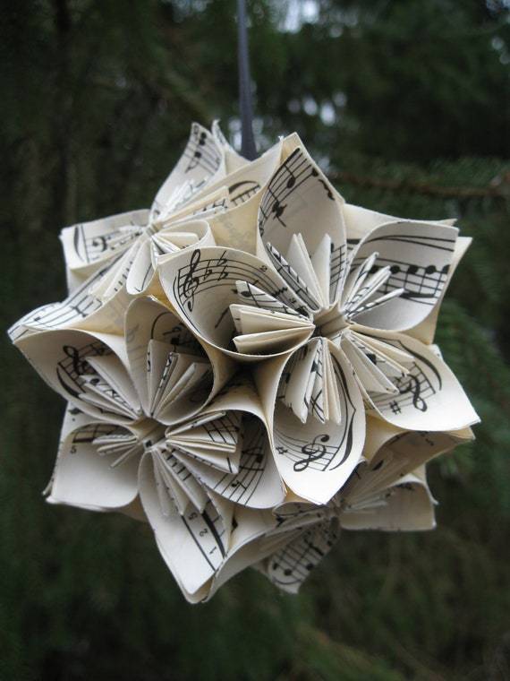 Vintage Sheet Music Kusudama Ball, Ornament.  Christmas Decoration, Stocking Stuffer, Gift. Custom Orders Welcome.