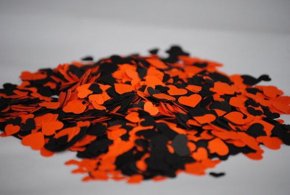 Halloween MIX: Over 2000 Mini Confetti Hearts.  ANY COLOR Available.