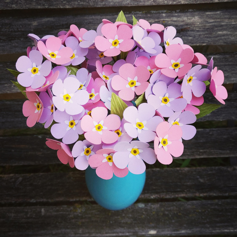 Forget Me Not Bouquet Choose Your Colors Handmade Bouquet
