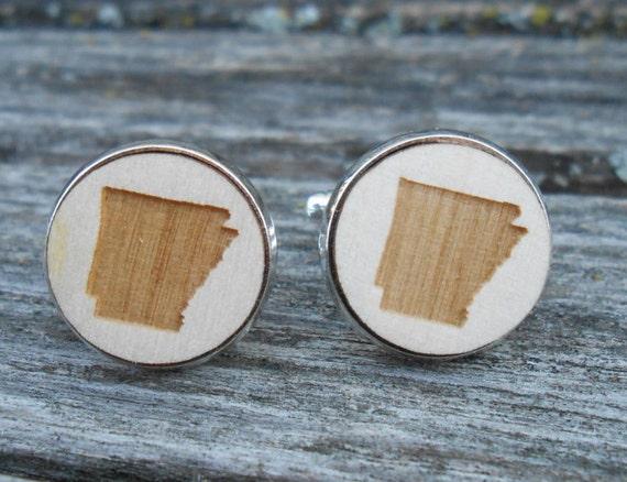 Wood STATE Cufflinks. ARKANSAS. Laser Engraved. Wedding, Men's, Groomsmen Gift, Dad. Custom Orders Welcome.