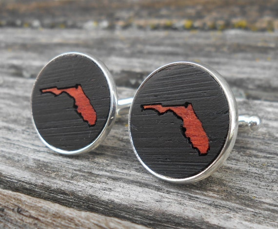 Wood Inlay State Cufflinks. Wedding, Groomsmen Gift, Dad. Custom Orders Welcome. Miami, Beach