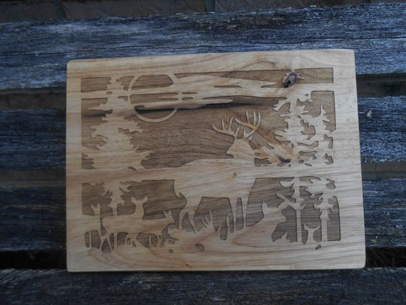 Deer Cutting Board, Laser Engraved. Gift For Dad, Fathers Day, Wedding, Christmas, Groom. Western, Hunter, Cabin, Rustic Decor