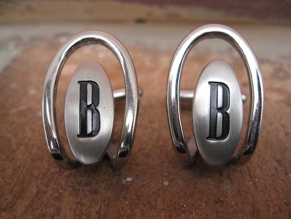 """Vintage Monogram """"B"""" Cufflinks. Silver & Black. Wedding, Men's Gift, Dad."""