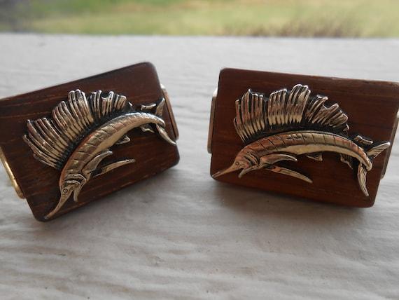 Vintage Fish Cufflinks. Unique. Wedding, Men's, Groomsmen Gift, Dad, Anniversary. Fly.