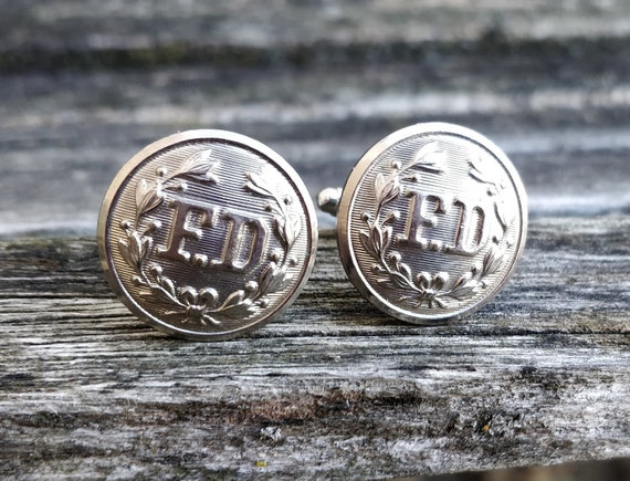 Fire Department Cufflinks. Vintage Buttons. Wedding, Groom, Groomsmen Gift, Dad., Father's Day, Birthday, Anniversary, Firefighter Gift.