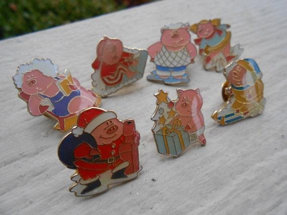 Vintage LOT of PIG Pins. Baby, Santa, Skiing, Skating, Etc.