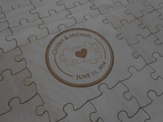 Wood Guest Book Puzzle. Personalized, Guest Book Alternative. Wedding, Shower, Party. Laser Engraved.