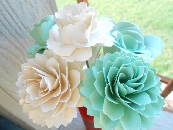 Custom Paper Flowers, Half Dozen. CHOOSE YOUR COLORS! Centerpiece, First Anniversary, Valentine's Day, Birthday