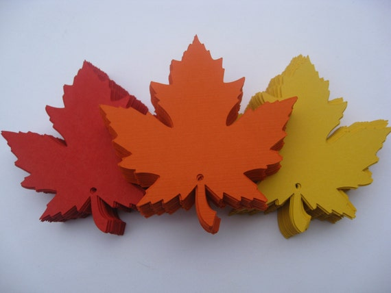 80 Maple Leaves, 3 inch. CHOOSE YOUR COLORS. Escort Cards, Place Cards, Wishing Tree, Wedding Decor. Fall