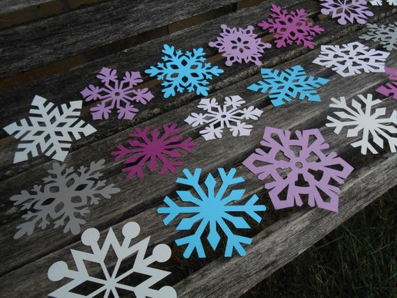 50 Snowflakes. CHOOSE SIZE & COLORS. Winter, Christmas Decoration, Holiday, Store Display. Paper, Cardstock
