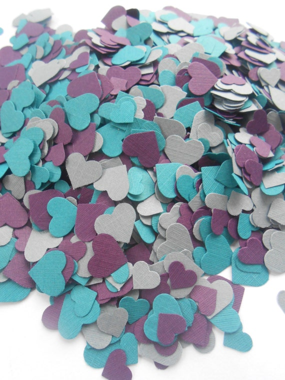 Over 2000 Mini Confetti Hearts. Dark Teal, Plum Purple, Grey Mix. Weddings, Anniversary, Graduation, Shower, Decorations.