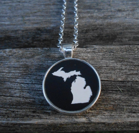 Michigan Necklace. Or CHOOSE YOUR STATE. Laser Engraved Acrylic. Black & White Acrylic