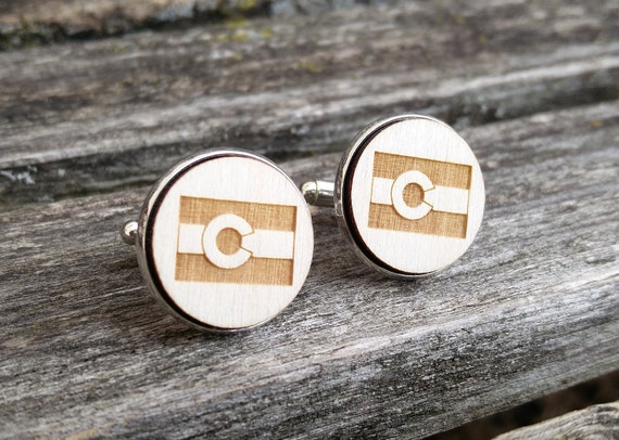 Colorado Cufflinks. Laser Engraved Wood. Wedding, Groom, Groomsmen Gift, Dad. Anniversary, Birthday, Christmas Gift. State Flag.