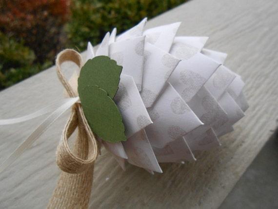Heart Paper Pinecone Ornament. Small Size. Decoration, Christmas, Gift, Birthday, Anniversary, Wedding. Blue, Aqua, Turquoise
