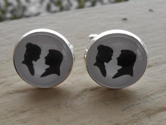 SILHOUETTE Cufflinks. Wedding, Groom, Christmas Gift, Groomsmen, Dad, Anniversary, Birthday