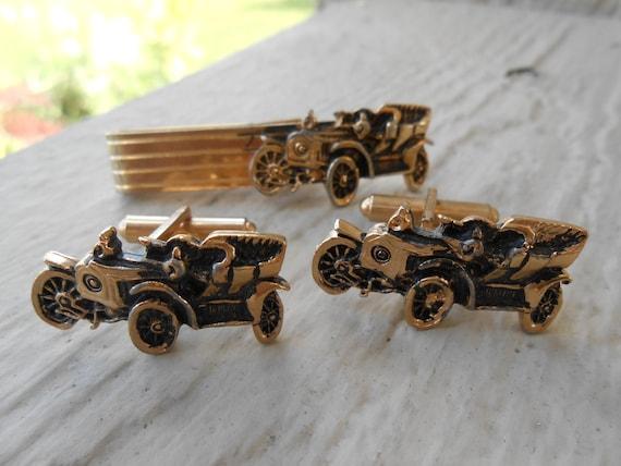 Vintage Model T Cufflinks & Tie Clip. Wedding, Anniversary, Christmas Gift, Dad, Groomsmen. Groom