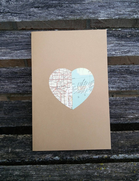 Vintage Map Card. CHOOSE YOUR PLACES! Wedding, Thank You, Anniversary, Birthday, Save The Date, Valentine's