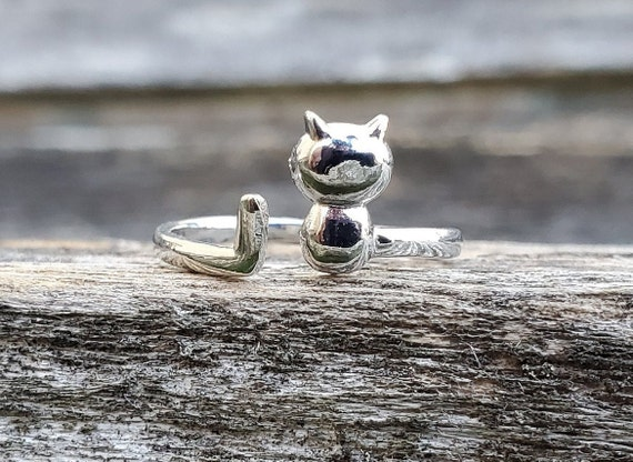 Adorable Cat Ring. Adjustable. Gift For Birthday, Christmas, Gifts For Her. Cat Lover. Sterling Silver