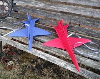 F-16 Paper Airplanes, 17 Inch. CHOOSE YOUR COLORS. Wedding Decoration, Party Favor, Birthday, Travel, Room Decor Boy, Christmas Gift.