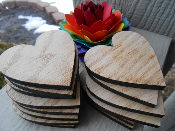 """25 Wood Hearts. 2.5 Inch. 1/8"""" Thick, Laser Cut. Custom Orders Welcome."""