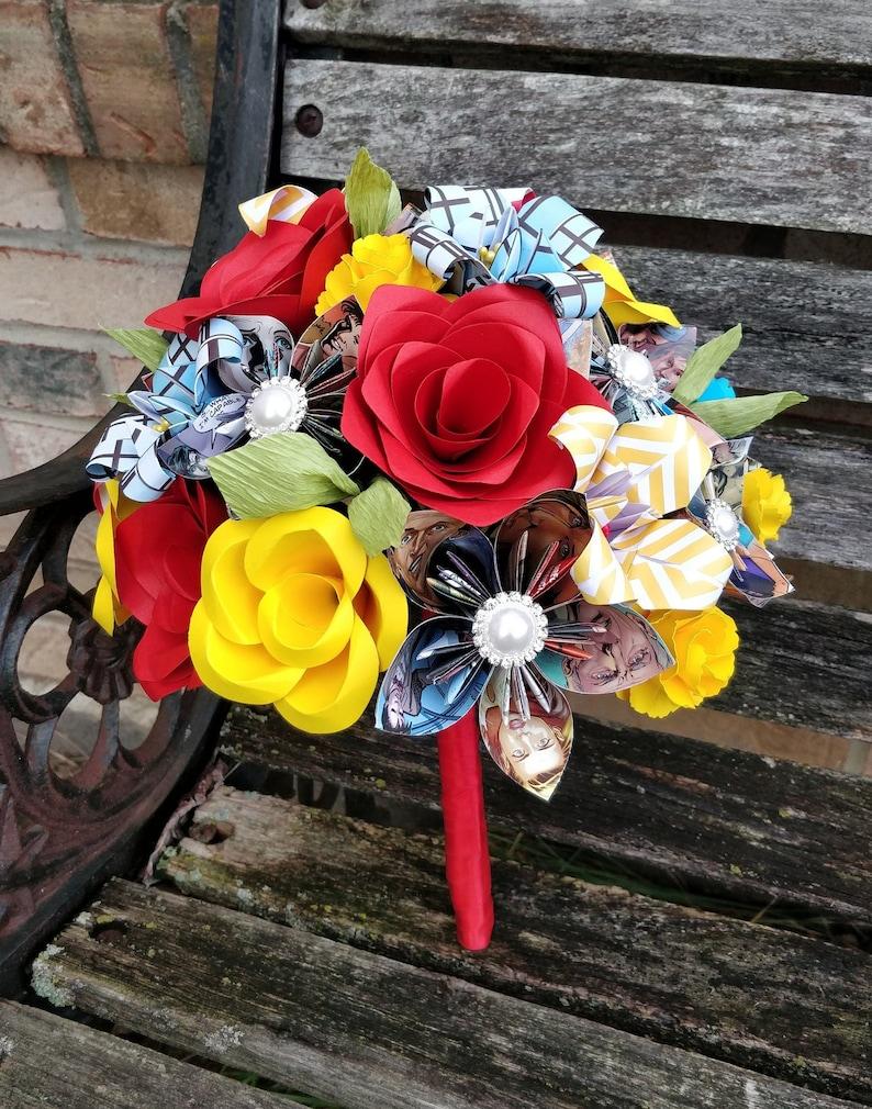 Custom COMIC BOOK Paper Flower Wedding Bouquets Bridesmaid Bride Custom Orders Welcome