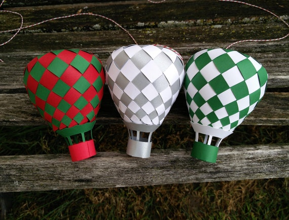 Paper Hot Air Balloon. Choose Your Colors. Christmas, Holiday, Unique Gift, Room Decoration, Birthday Party, Baby Mobile. Ornament