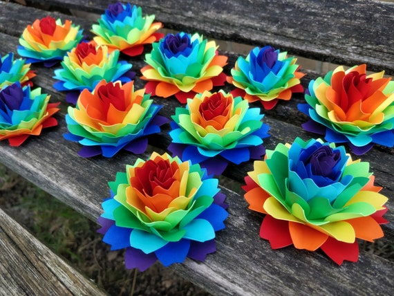 Rainbow Dahlia Paper Flowers. ROYGBIV. Cake Topper, Wedding Favors, Gift, Decoration, Anniversary, Birthday, Gay Pride.