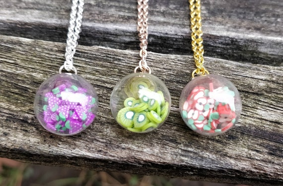 Fruit Glass Ball Necklace. CHOOSE YOUR COLOR. Wedding Gift, Bridesmaid, Mom, Anniversary Gift.