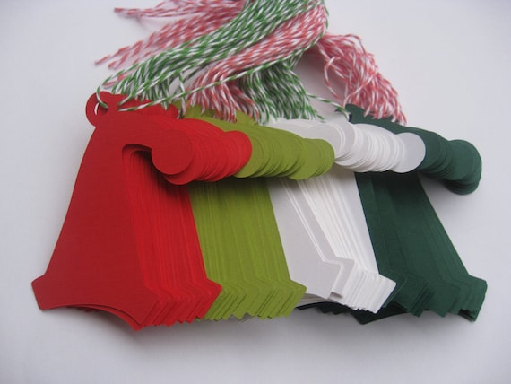 80 Santa Hat Tags. With Baker's Twine. 3.5 inch. CHOOSE YOUR COLORS. Custom Orders Welcome.