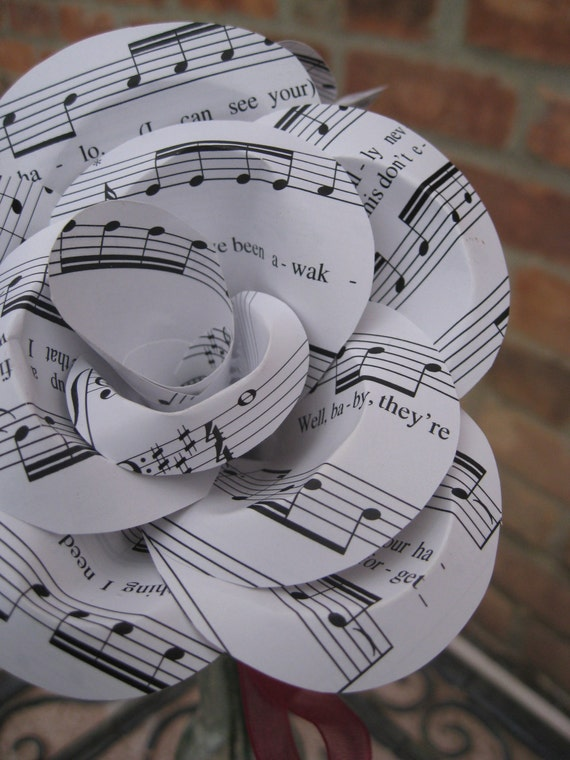 Sheet Music Paper Roses. Valentine, Anniversary Gift, Wedding Decor. Custom Orders Welcome.