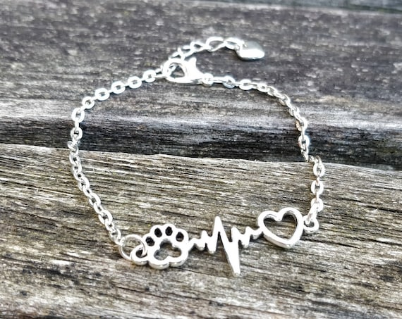 Paw Print Heartbeat Bracelet,  Anniversary Gift, Birthday Gift. I Love My Dog, Cat