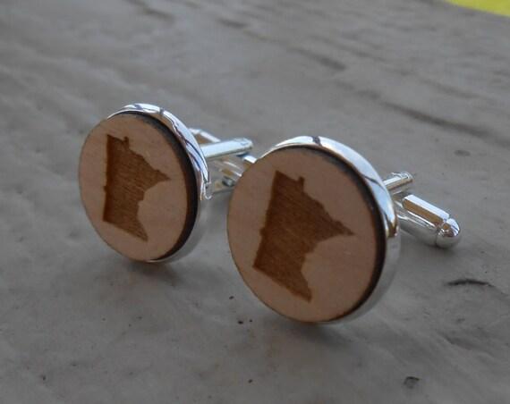 Wood STATE Cufflinks. Minnesota. Laser Engraved. Wedding, Men's, Groomsmen Gift, Dad. Custom Orders Welcome.