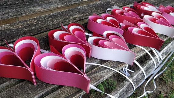 Red, Pink, & White HEARTS. Heart Garland. Wedding, Shower Decoration, Home Decor. Custom Orders Welcome. Any Color Available.